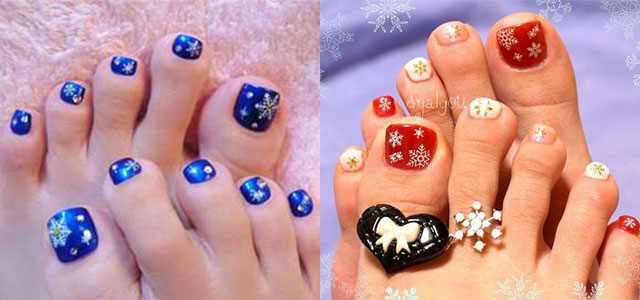 Snowflakes Design Christmas Toe Nail Art - 40 Most Beautiful Christmas Nail Art Ideas For Toe Nails