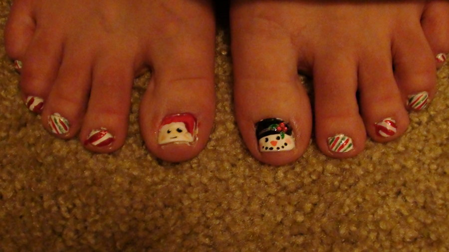 40 most beautiful christmas nail art ideas for toe nails snowman design christmas nail art for toe nails prinsesfo Gallery