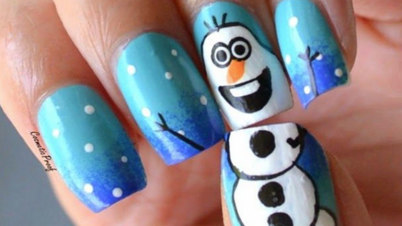 55 most stylish christmas nail art snowman design christmas nail art prinsesfo Image collections