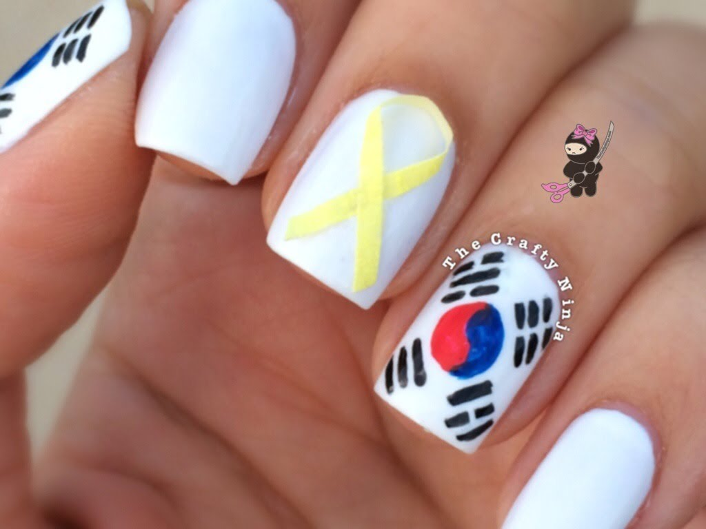 South Korea Flag Nail Art Tutorial Video
