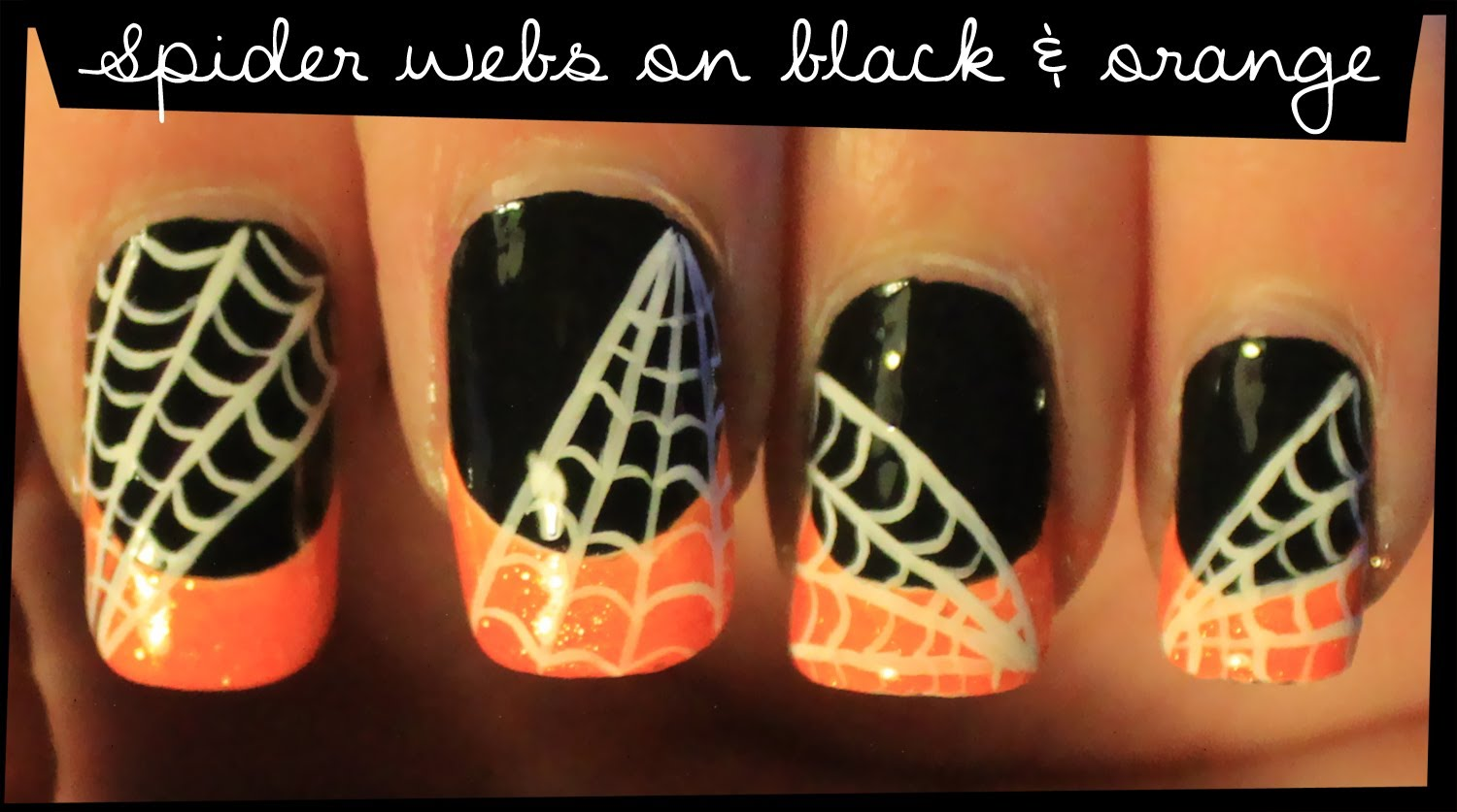 Spider Web On Black And Orange Nail Art Tutorial Video