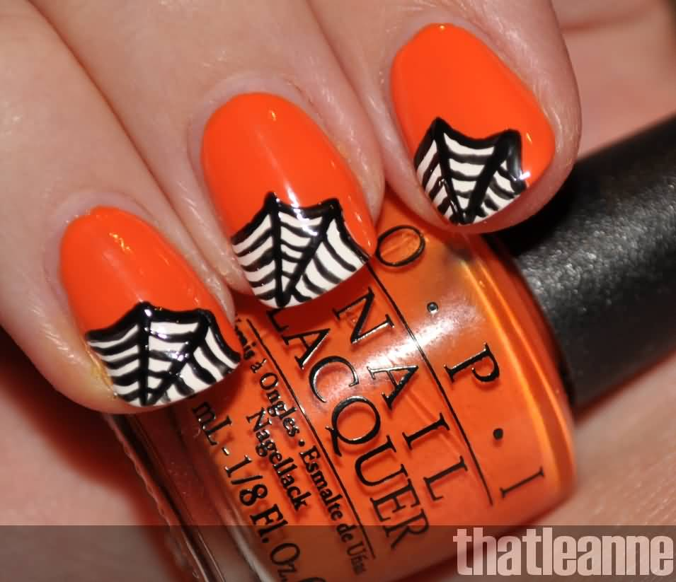 Spider Web Orange Halloween Nail Art