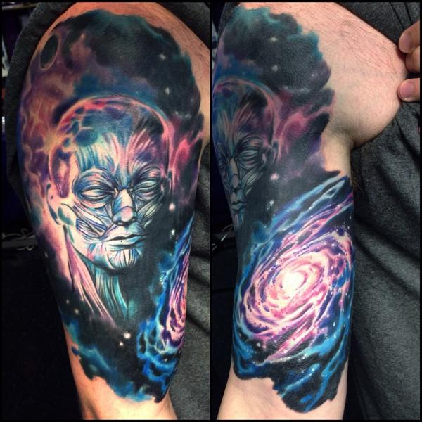 24 spiral galaxy tattoos for Galaxy tattoo sleeve