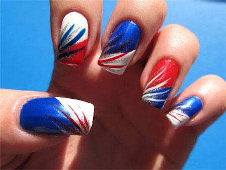 Stripes American Flag Nail Art - 50+ Most Beautiful Flags Nail Art Ideas