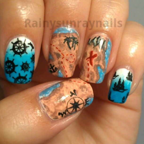 45 most beautiful pirate nail art designs for trendy girls treasure map compass and sailor wheel pirates nail art prinsesfo Image collections