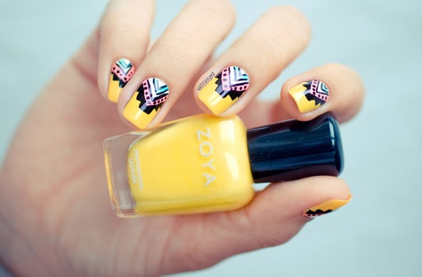Trendy Yellow And Aztec Print Nail Art Design Idea