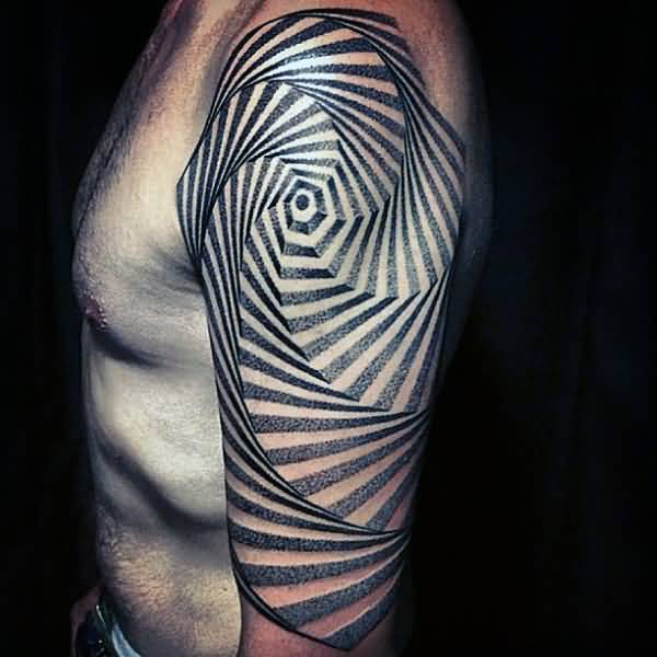4775261b930c8 Unique Spiral Staircase Tattoo On Left Upper Arm For Men