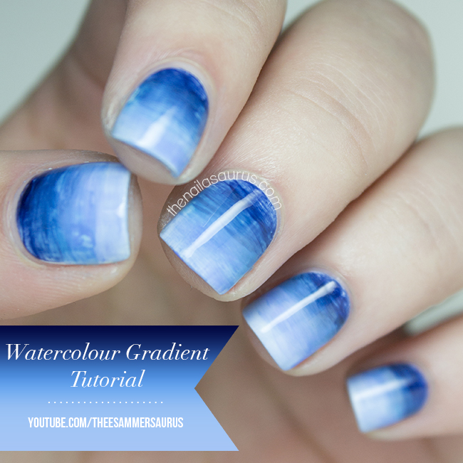 Watercolor Gradient Nail Art With Tutorial Video