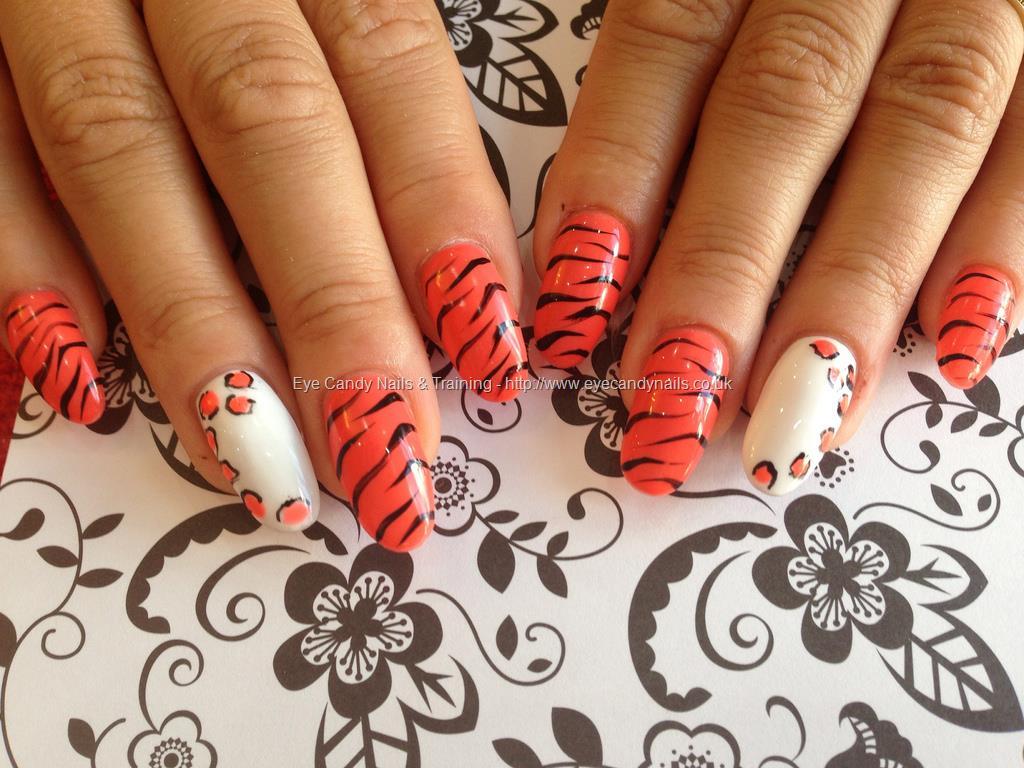 White And Orange Leopard Print Nail Art