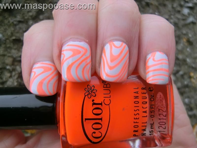 White Base Nails With Orange Waves Design Nail Art