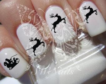 white nails with black stamping christmas nail art - Black Christmas Nails