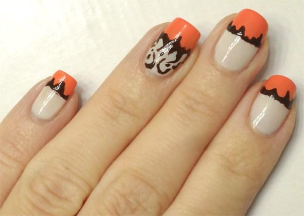 White Nails With Orange Tip Design Nail Art