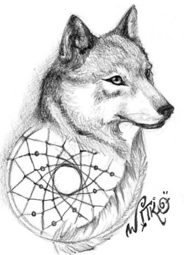 40 Dreamcatcher Wolf Tattoo Designs Images And Pictures Awesome Wolf Head Dream Catcher
