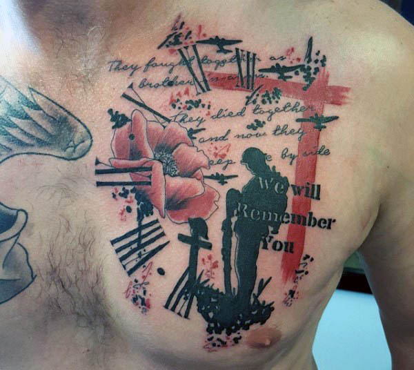 wonderful abstract military remembrance tattoo on chest for men. Black Bedroom Furniture Sets. Home Design Ideas