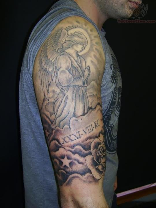 26 praying angel tattoos on half sleeve for Angel half sleeve tattoo