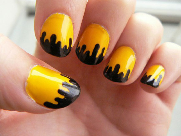 Yellow And Black Melted Nail Art Design - 55 Unique Yellow Nail Art Design Ideas