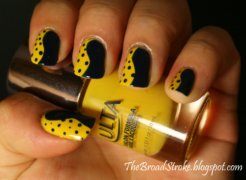 Yellow And Black Swirls Design Nail Art - 55 Unique Yellow Nail Art Design Ideas