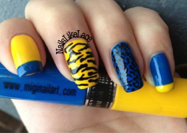 Nail art yellow blue gelic nail art swedish yellow and blue tiger nail art decals transfers stickers blue yellow view images prinsesfo Choice Image