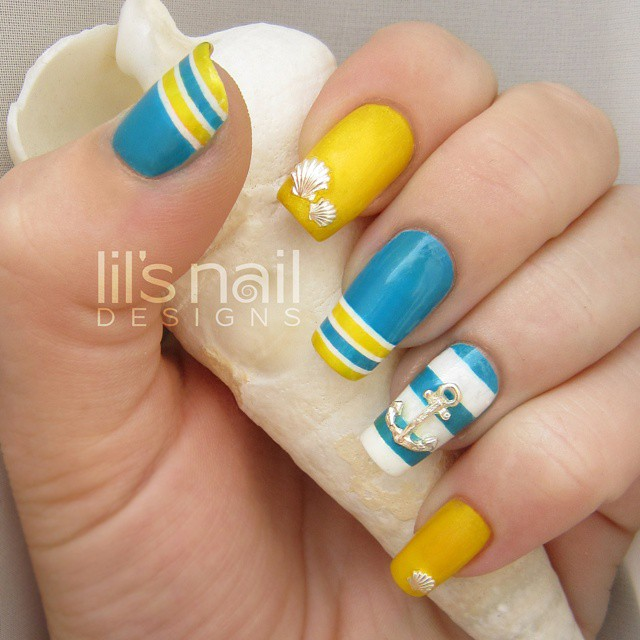 52 latest yellow and blue nail art designs yellow and blue nails with sea shell and anchor 3d sign nail art prinsesfo Choice Image