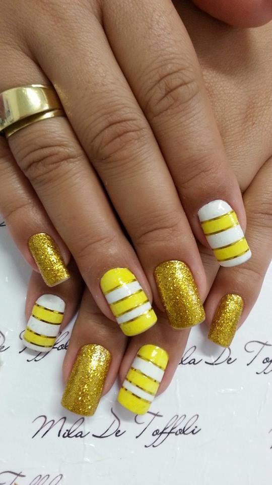 Yellow And Gold Stripes Design Nail Art