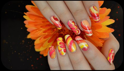 Yellow And Orange Butterfly Wings Nail Art