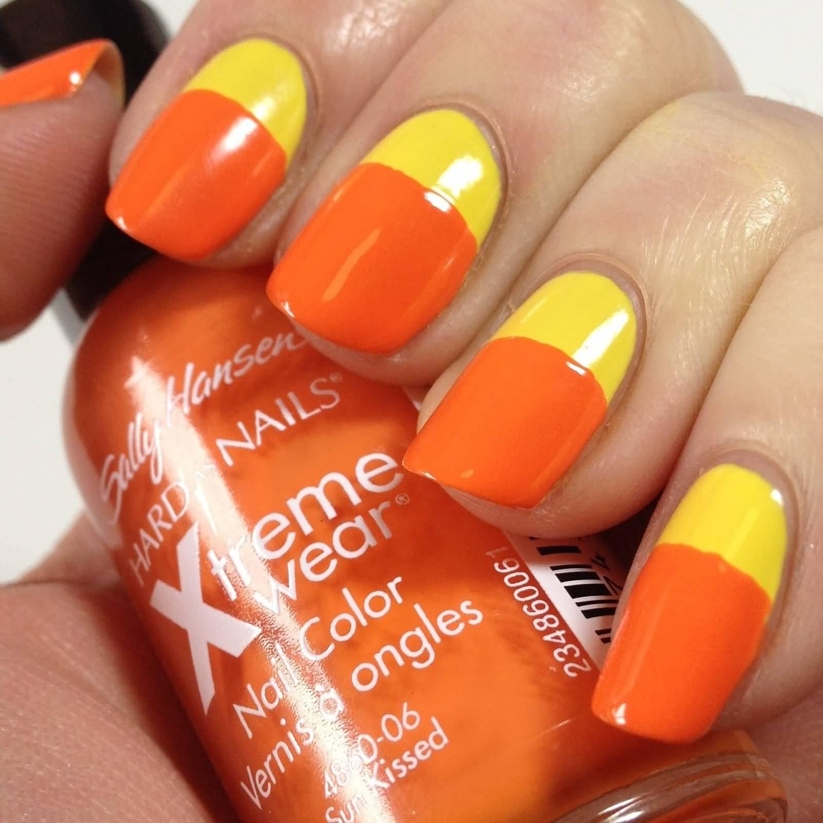 Yellow And Orange Candy Nail Art