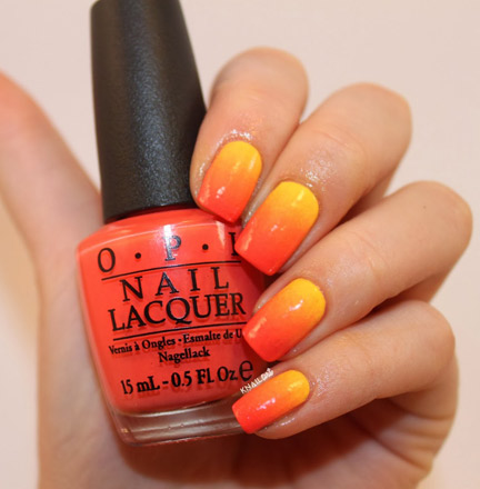 Yellow And Orange Gradient Nail Art