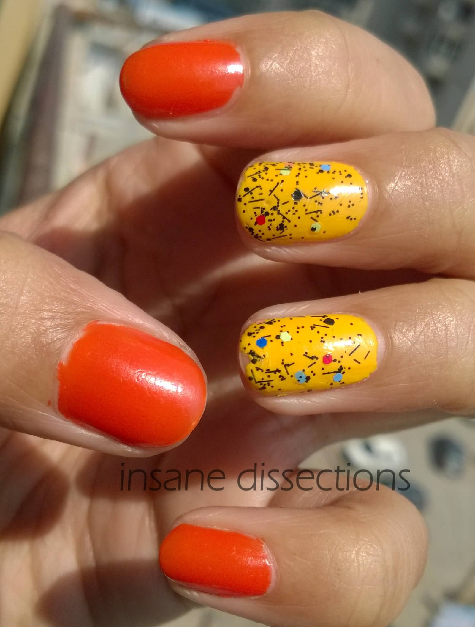 Yellow And Orange Splatter Design Nail Art