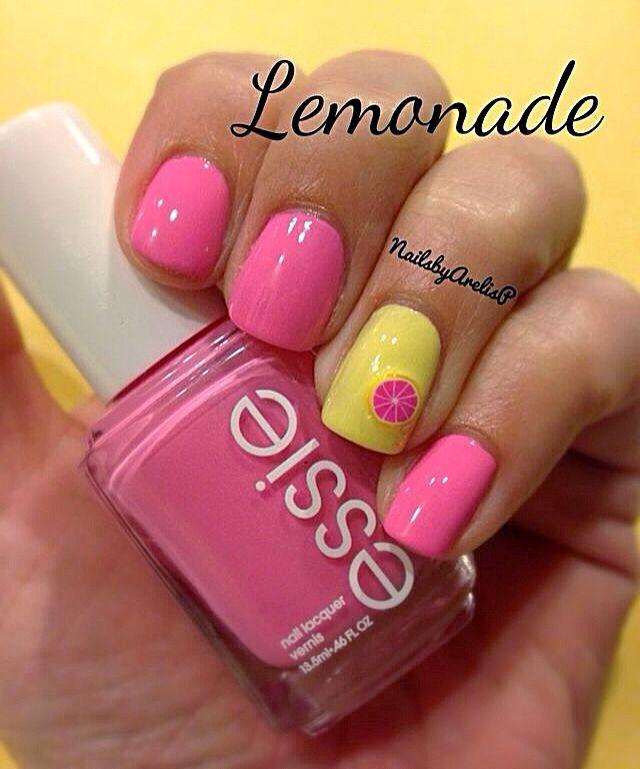 55 most stylish yellow and pink nail art design ideas yellow and pink lemon nail art prinsesfo Choice Image