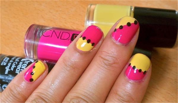 Yellow And Pink Nails With Black Dots Design Idea