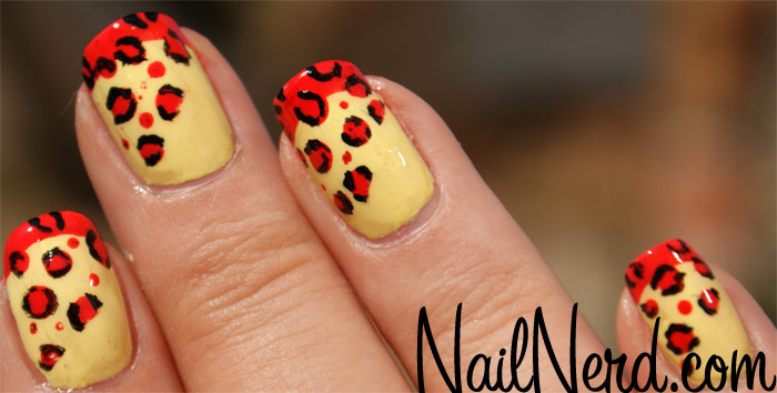 Yellow And Red Leopard Print Nail Art