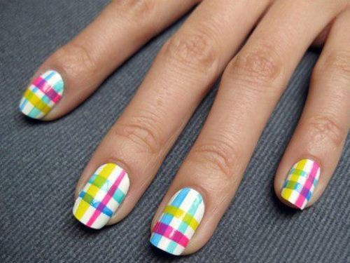 Yellow Blue And Pink Plaids Design Nail Art