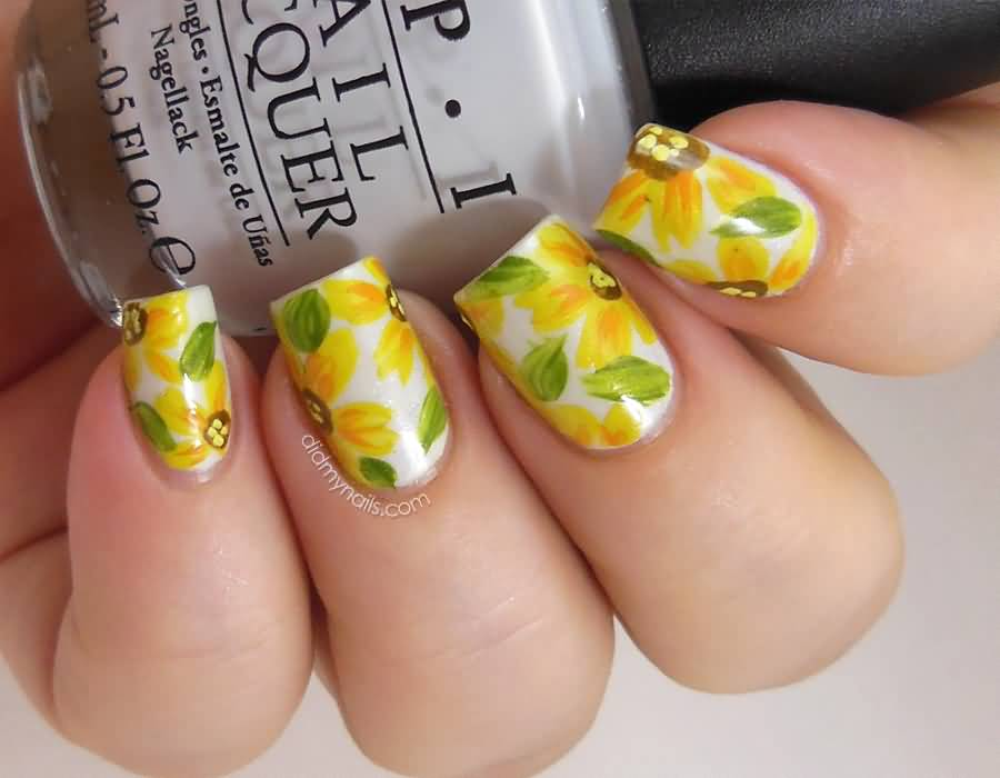 55 unique yellow nail art design ideas yellow daisy flowers nail art prinsesfo Gallery