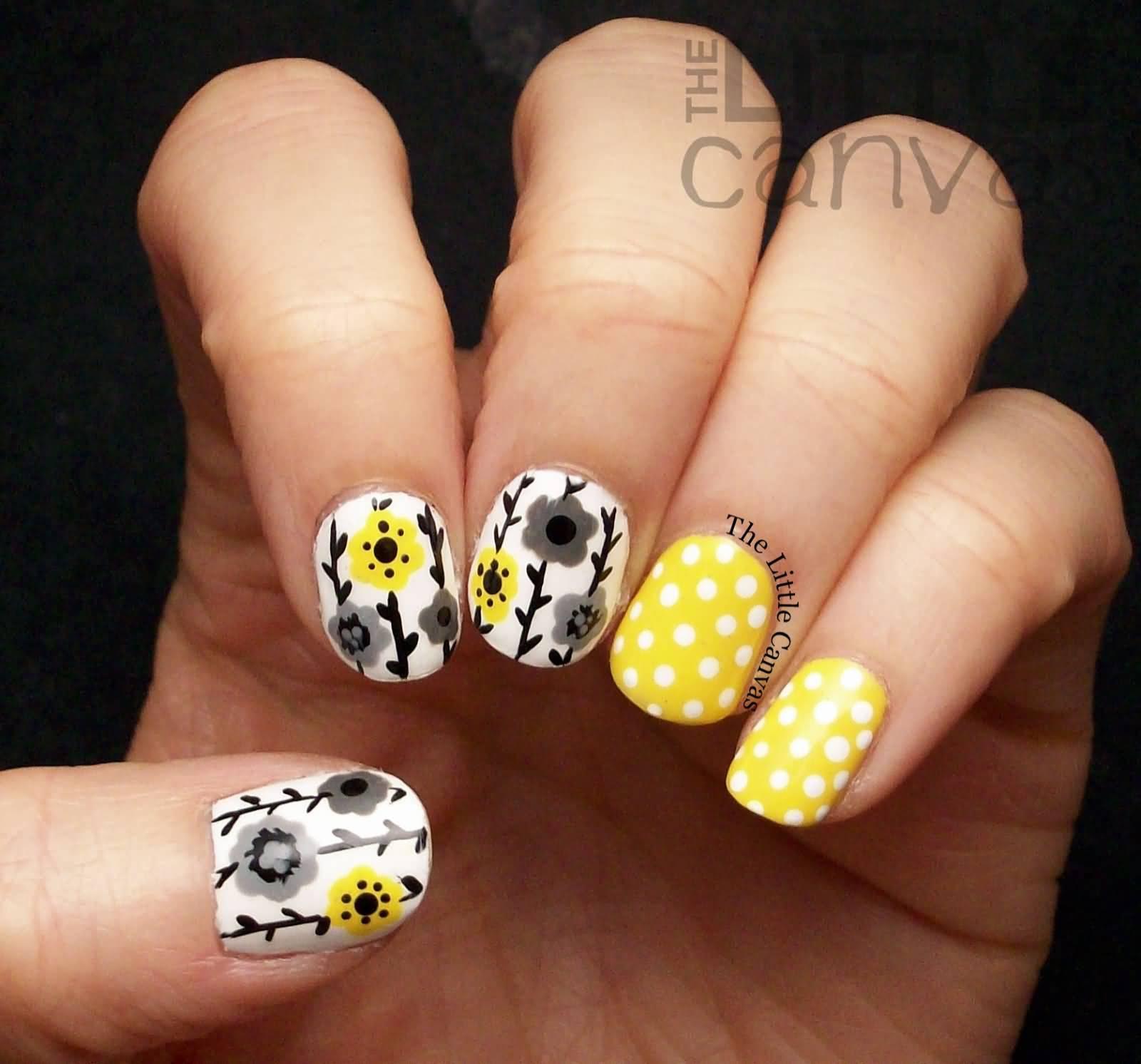Yellow Floral And Polka Dots Nail Art