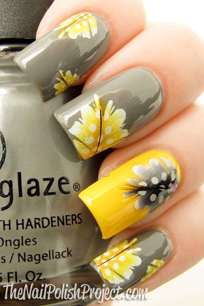 Yellow Flowers Nail Art Design Idea