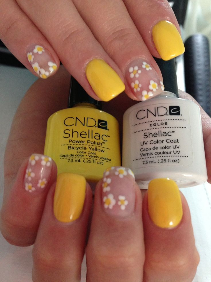 Yellow Flowers Nail Art