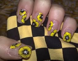 Yellow Flowers Nail Art