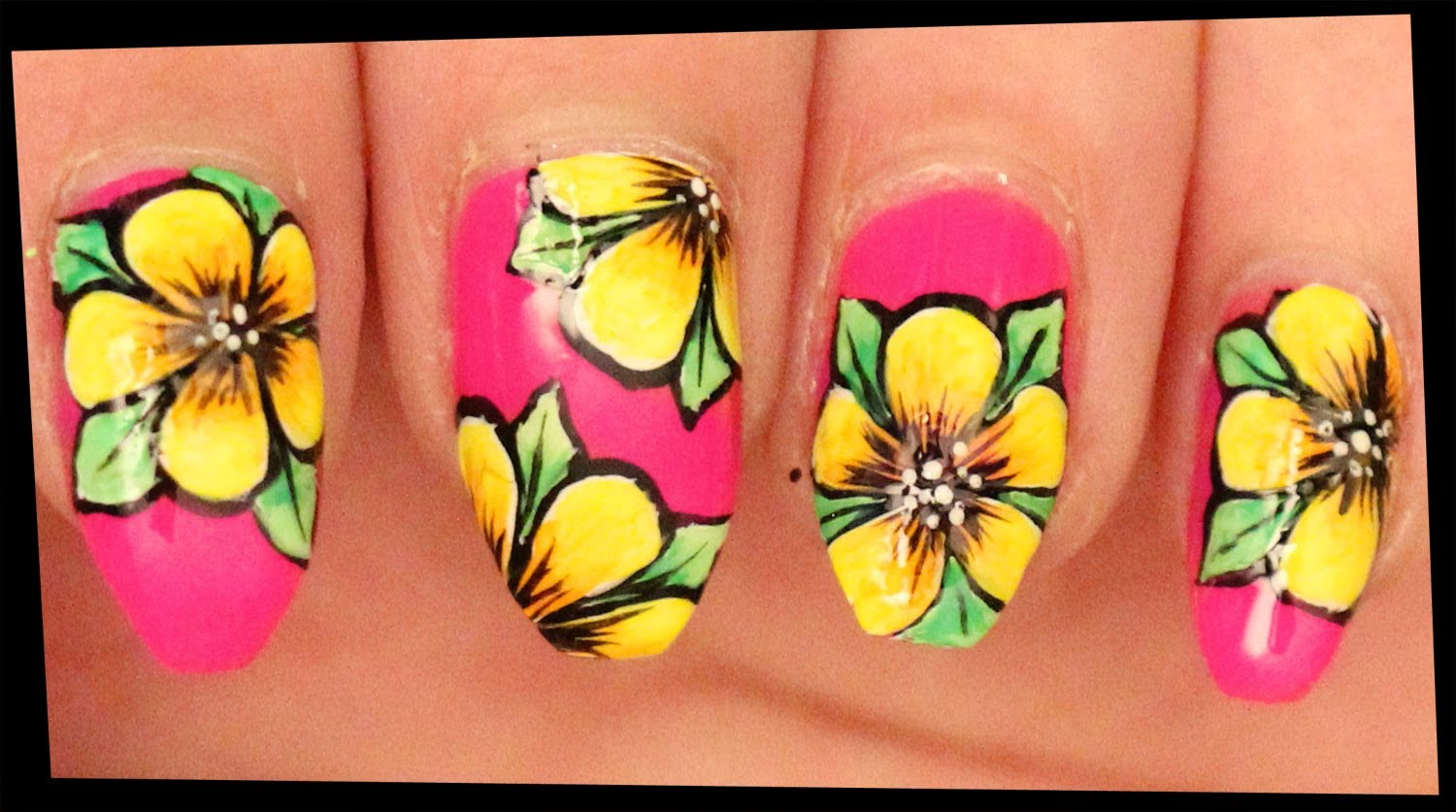 Yellow Flowers On Pink Nail Art With Tutorial Video