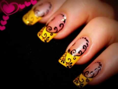 Yellow French With Black Swirls Design Nail Art With Tutorial Video