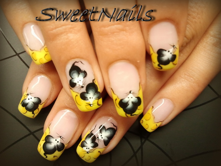 Yellow French tip And Black Flowers Nail Art Design Idea