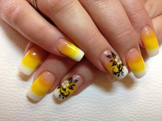 Yellow Gradient Nails With Flower Design Nail Art