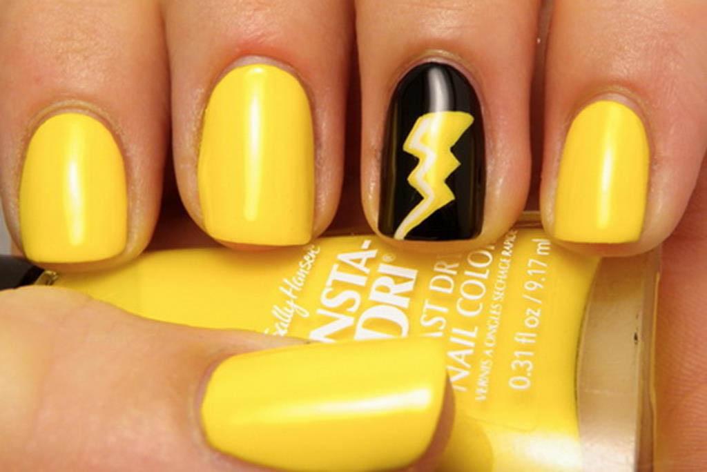 Yellow Lighting Sign Nail Art