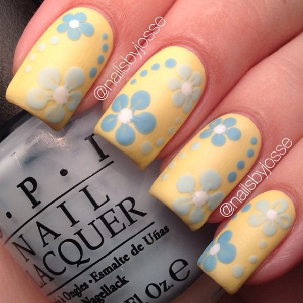 Yellow Nails And Blue Acrylic Flowers Design Nail Art