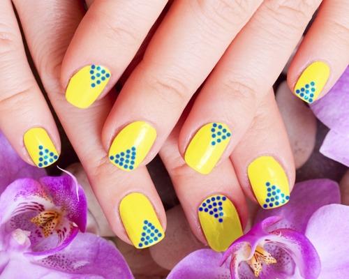 Yellow Nails And Blue Polka Dots Nail Art Design