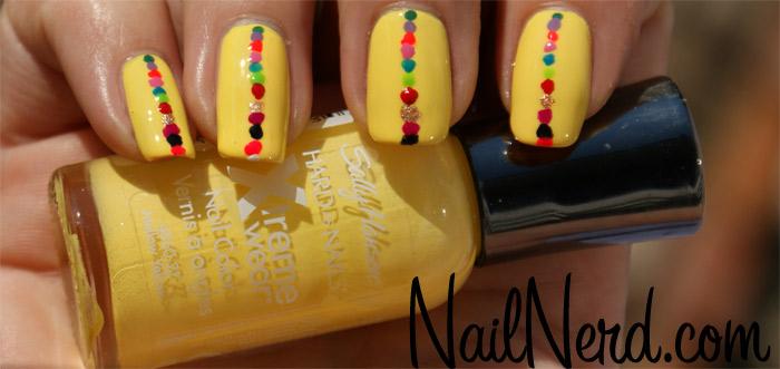 Yellow Nails And Colorful Dots Design Nail Art
