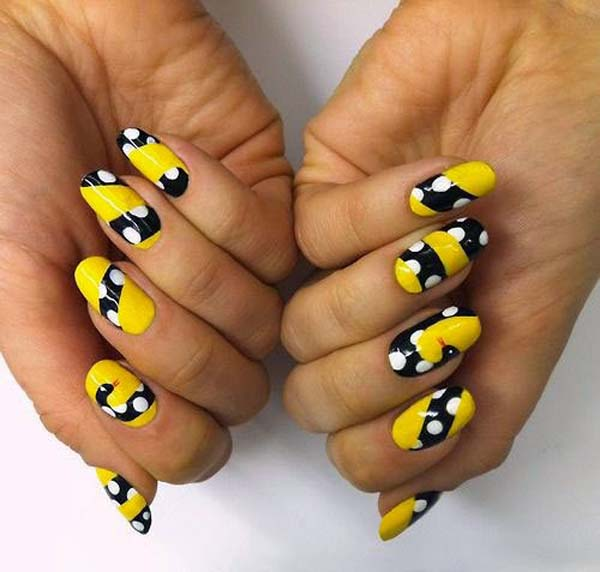 Yellow Nails With Black And White Polka Dots Stripes Design Idea - 55+ Latest Yellow Nail Art Designs