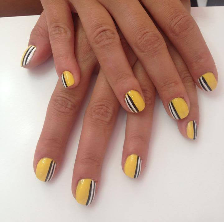 Yellow Nails With Black And White Stripes Design Nail Art