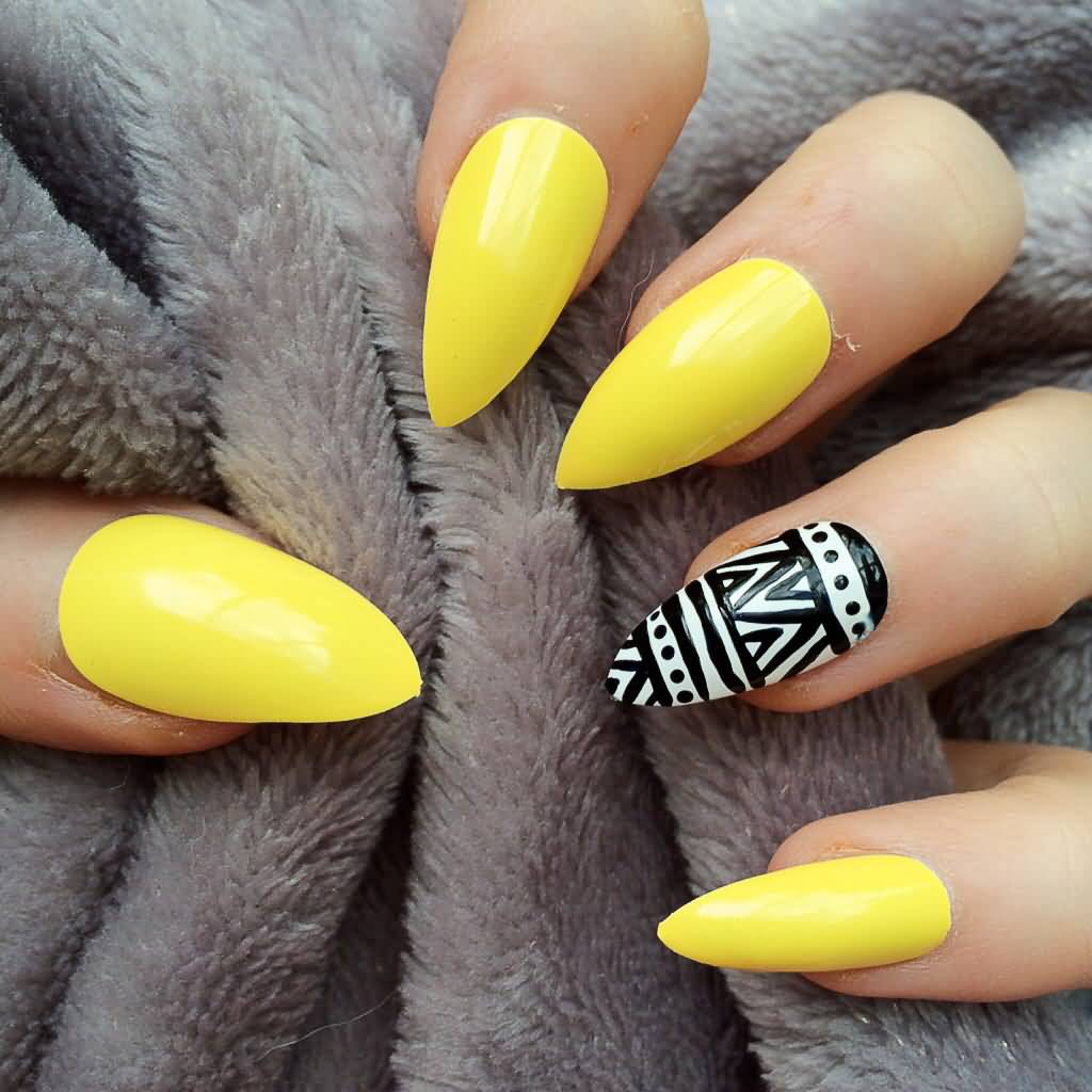 Yellow Nails With Black And White Tribal Design Nail Art