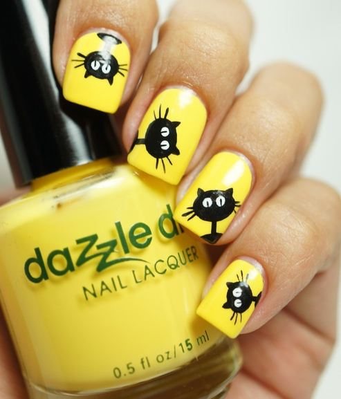- Yellow Nails With Black Cats Nail Art Design
