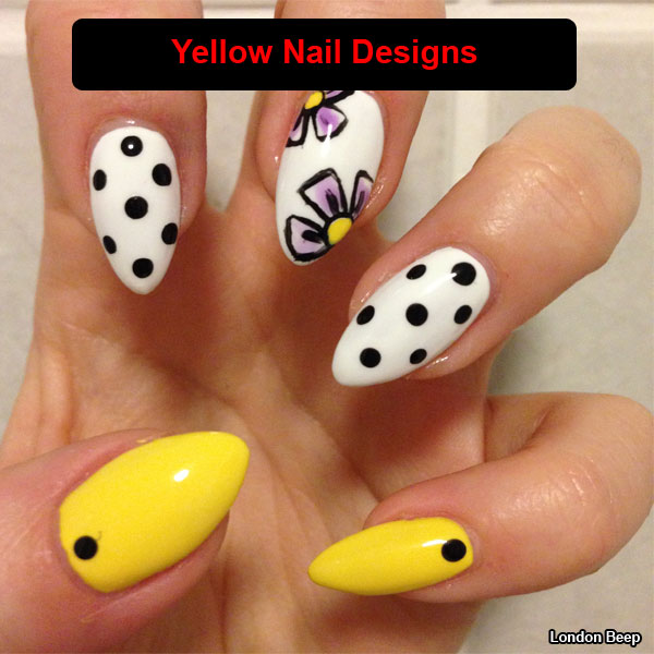 Yellow Nails With Black Dots Design Nail Art